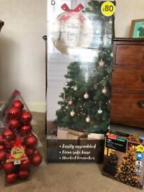 Christmas tree plus lights and ball blew