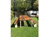 Shabby chic garden table and benches