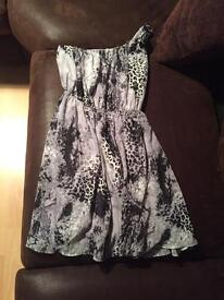 One shoulder print dress miso size 8