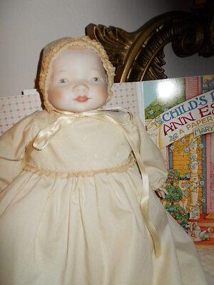 "Bisque Porcelain 14"" Baby Doll Shackman? Christening Dress Bonnet Frog Body!"