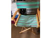 Vintage Wooden Light Blue Canvas Garden Folding Director Chair