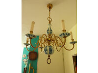 Antique Dutch hand painted 'Delft Blue' style porcelain and brass 6 arm chandelier