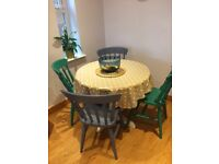 Dining table and chairs painted in Annie Sloan paint
