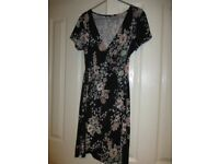M & Co Black Multi Wrap Over Dress Size 10 Very good condition