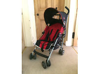 Maclaren buggy/stroller (red) with rain cover