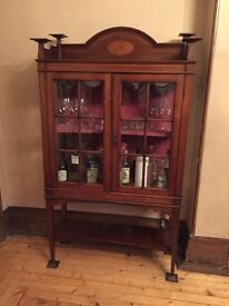 Edwardian Drinks Cabinet/Display Cabinet