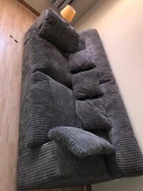 Velvet grey ribbed sofa and loveseat