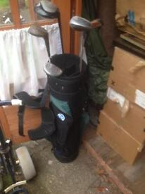 Golf bag clubs and fold up trolley