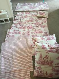 King size bedding set with cushions & voile