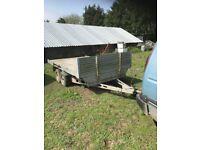 Flat bed twin axle trailer