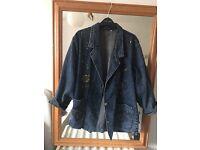 Embroidered vintage denim jacket