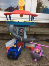 Paw Patrol HQ/ lookout tower with Chase and Sky figures with their vehicles