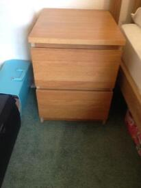 Bedside drawers, malm oak, good condition, pair