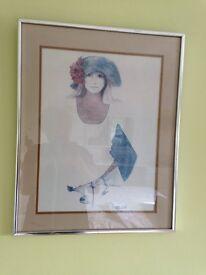 Steel framed glazed print of a young girl titled Rosamund.