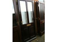 Exterior door with 2 double glazed crazed glass panels