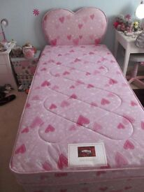 Single Airsprung divan bed and matching pink heart headboard, under bed storage, excellent condition