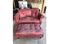 Two seater red leather sofa with gootstool- vintage style