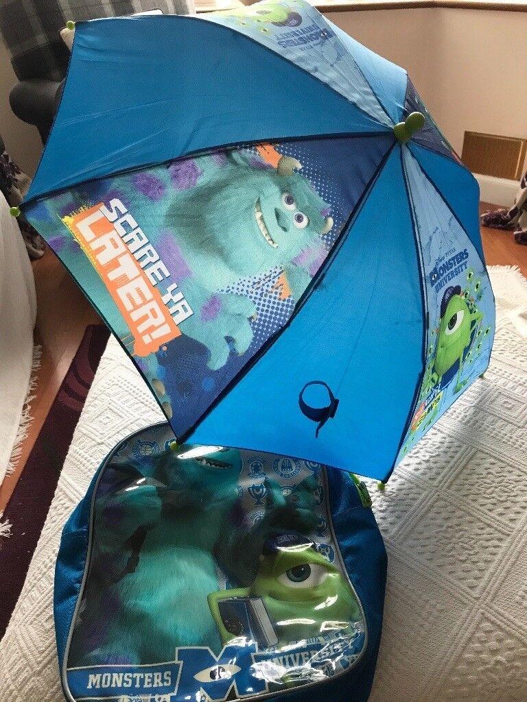 Monsters Inc/university umbrella & rucksack