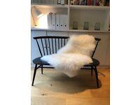 Ercol love seat , ercol Ercol windsor bench, original 'as new ' black , free sheepskin