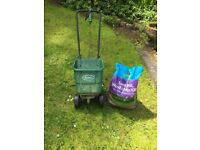 Scott's Lawn Spreader & 17.5kg sack of weed, feed & moss killer.