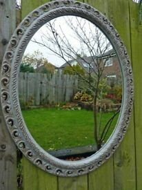 Large Upcycled Oval Wall Mirror