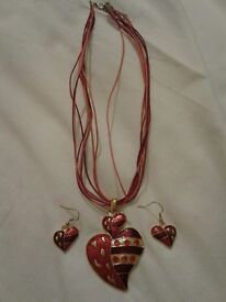 Red Heart Necklace and Earrings with gold detail and rope necklace