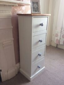 Tall chest of 4 drawers painted Annie Sloan Old White, stripped & waxed top, blue ceramic handles