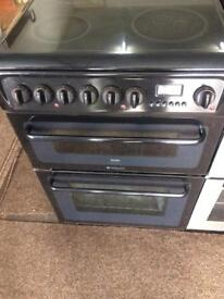 Black hotpoint 60cm ceramic hob electric cooker grill & double fan assisted ovens with guarantee