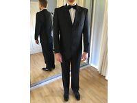 """Men's black formal suit/tuxedo, 45% wool. Jacket 40"""", trousers 34/34"""". Belmont area"""