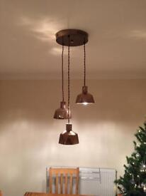 Copper effect ceiling light