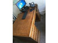 Brown Leather top captains office desk only £200