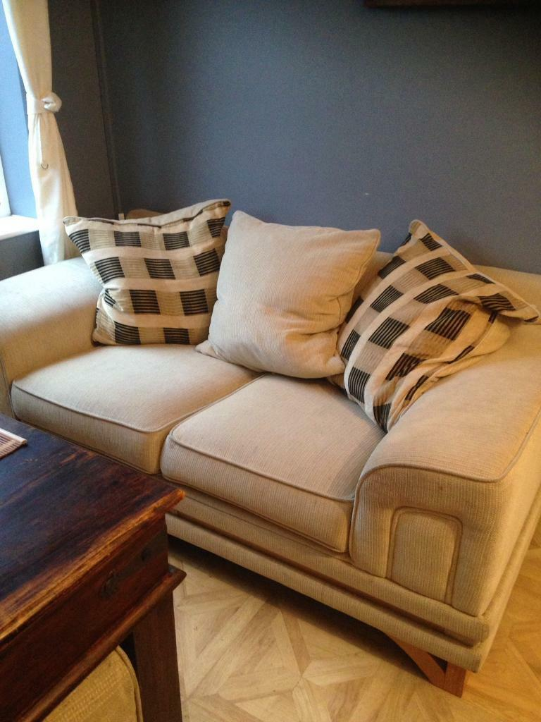 Large two seater comfy sofa & poufee- £45 collect Fareham po15