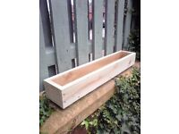 NEW WOODEN PLANTERS, WINDOW BOX, trested 22x100 garden flower planters, many sizes and colours