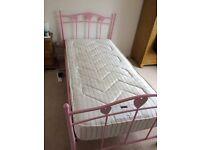 NEXT Amy Pink Metal Frame Single Bed & NEXT mattress