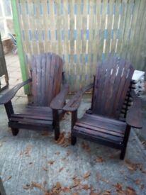 2 adirondack garden chairs