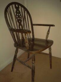 Oak wheelback carver chair