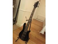 Harley Benton B-650 Black Progressive 6 string bass. Practically new. (Trades accepted.)