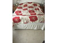 CH Fabric made curtains red and cream