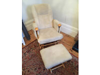 Feeding chair and footstool with gliding motion