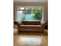 Chesterfield 3 seater button sofa and Queen Anne Chair