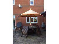 Terracotta/beige garden parasol