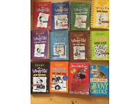 12 children's books - 10 Diary of a Wimpy Kid, 1 Horrible Histories, 1 David Walliams books