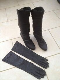 Boots Size 3 & Womens Gloves