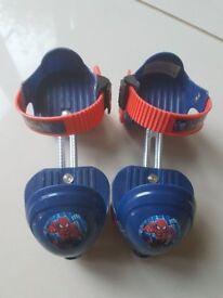 Spiderman adjustable quad training first roller skates for children size 5-11 junior/child shoe size