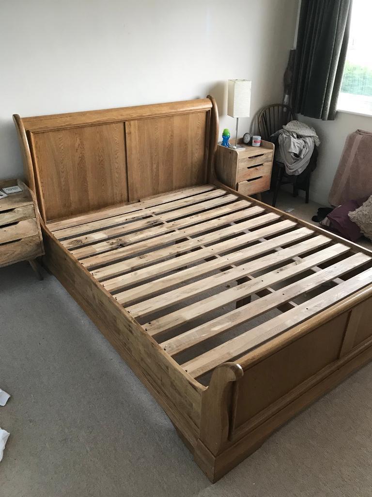Kingsize Solid Oak Sleigh Bed