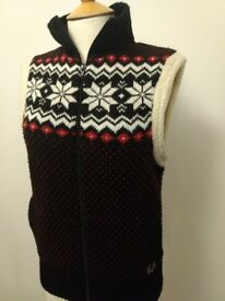 Fred Perry Vintage Gillet Bodywarmer Nordic Scandinavian Snowflakes knit Size 10