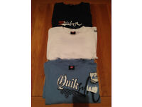 Set of Three Men's Quiksilver T-Shirts (one is L (slightly fitted) and two are M) JUST REDUCED
