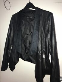 New Look Woman's black leather jacket Size 8