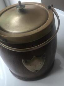 Vintage Wooden 1930's biscuit barrel