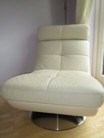 Off White / Cream Genuine Leather Swivel Chair - Pristine condition